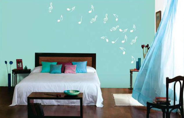Bedroom Feature Wall In Fairytale Green 9281 Stencil In Crystal Peak L105 Wall Color Combination Room Inspiration Home Decor