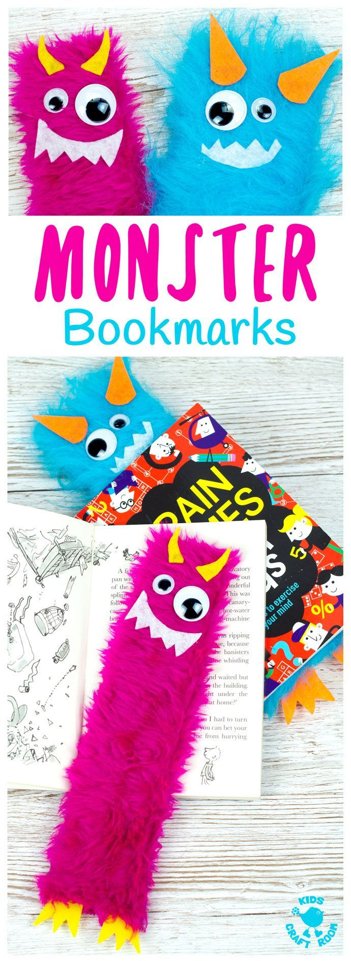 Adorable Monster Bookmark Craft for your little monsters! Great for back to school.  A perfect monster craft to bring fun and excitement to your children's reading whatever their age. Reading is monstrously good fun and these furry monsters are great for snuggling up to on your reading adventures and they look after your page when you've finished too!  #backtoschool #bookmarks #kidscrafts #monster #reading #craftsforkids #bookmarkcrafts #bookmark #readingactivities #kidsactivities #kidscraftroom