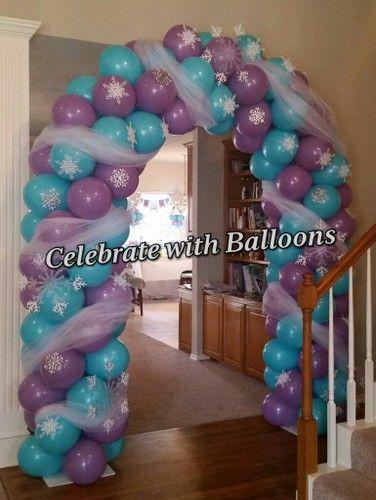 Frozen balloon arch frozen birthday party pinterest for Frozen balloon ideas