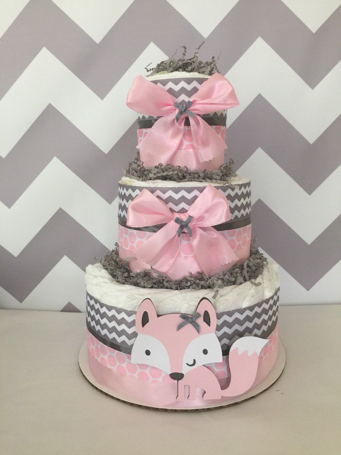 Adventure awaits arrow diaper cake gray navy teal mountain boy woodland diaper cake in pink and grey fox baby shower centerpiece in pink and gray baditri Gallery