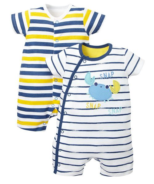 15124b7424bf Stripy Crab Romper Suits- 2 Pack - onesies - Mothercare