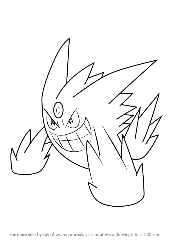 Learn How To Draw Mega Gengar From Pokemon Pokemon Step By Step Drawing Tutorials Pokemon Coloring Pages Pokemon Coloring Gengar
