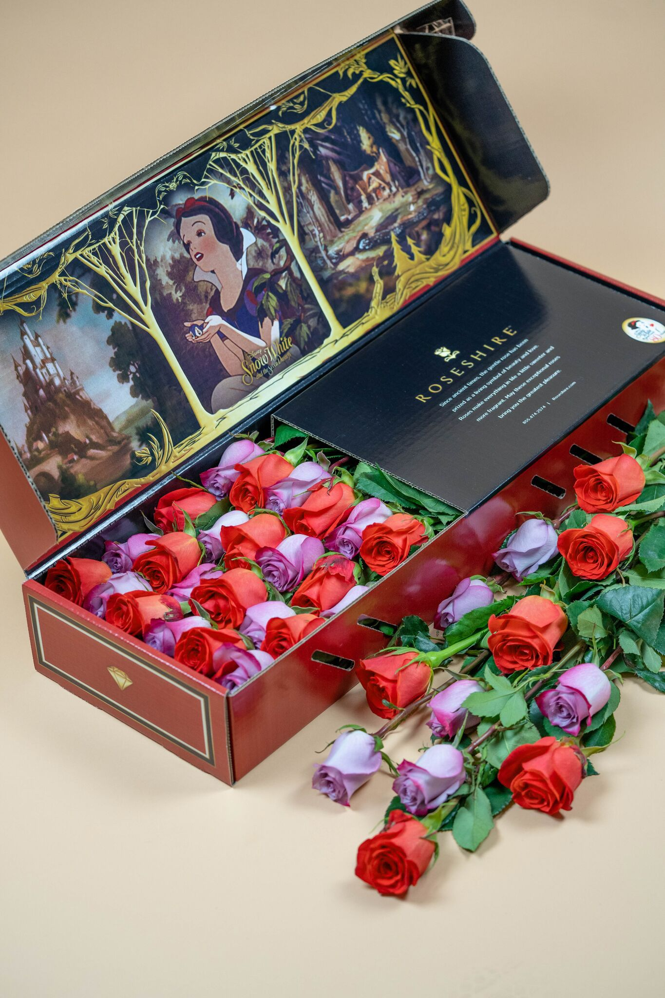 Roseshire X Disney Snow White Roses Luxury Roses Delivered Overnight Gift The Roseshire Experience Today More Classic Fairy Tales Roses Luxury Disney Roses