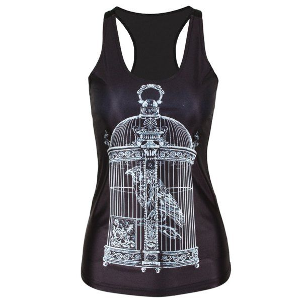 $7.86 Casual Scoop Neck Sleeveless Birdcage Print Women's Tank Top