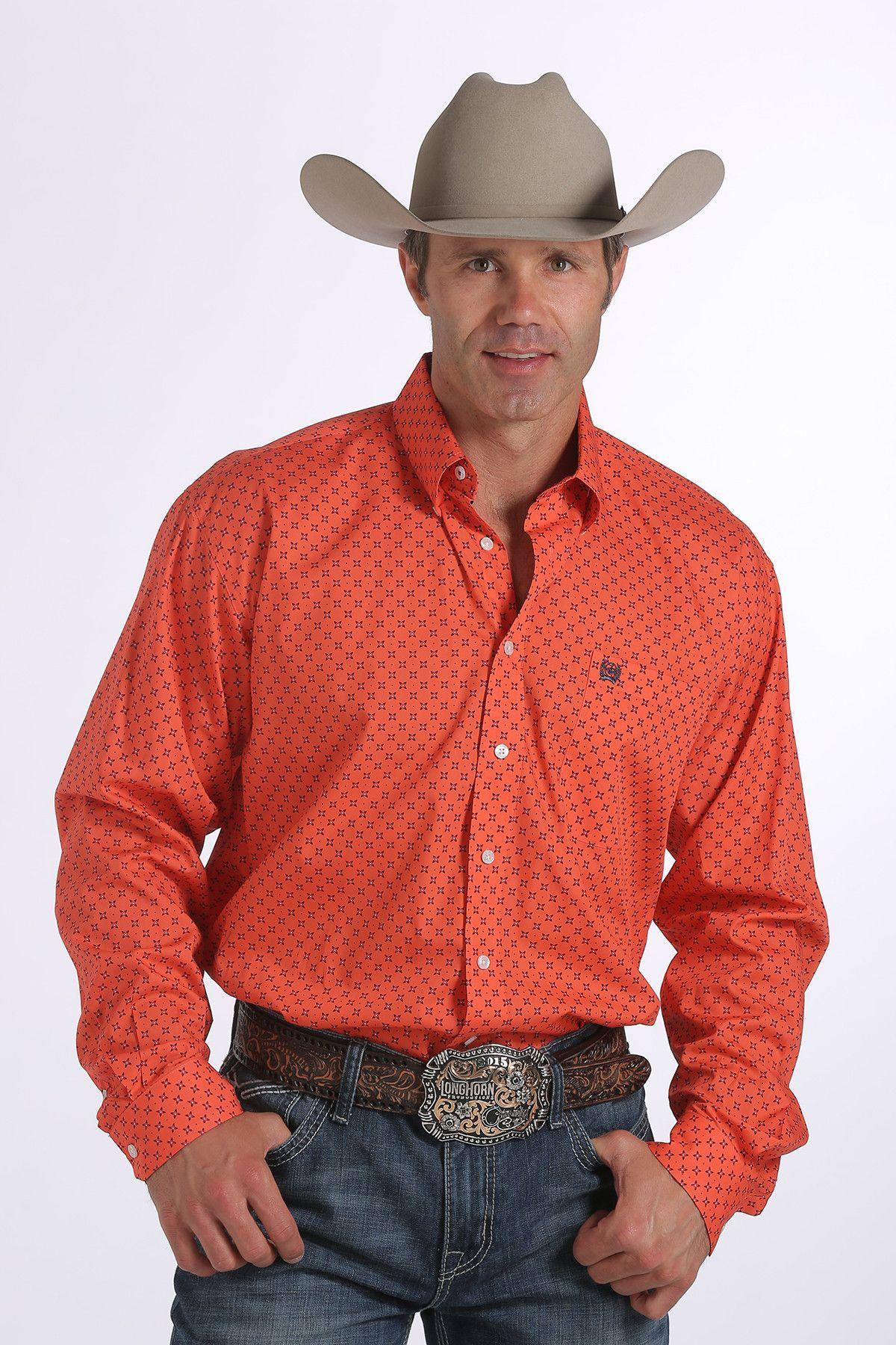 aa8559a5 Cinch Men's Long Sleeve Coral Mini Print Button Up Shirt MTW1104234 ...