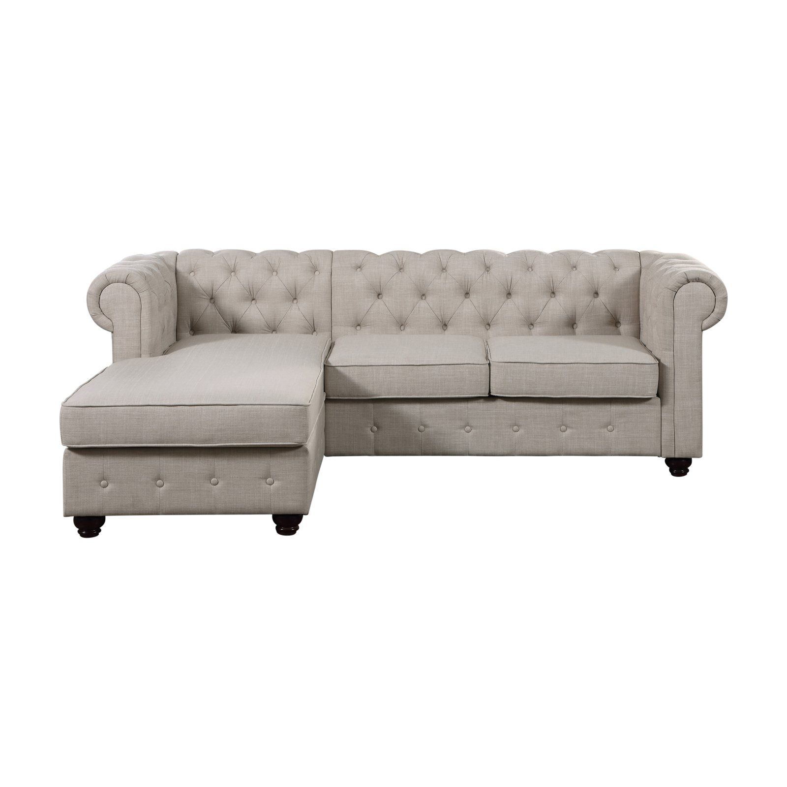 Rosevera Quitaque Tufted 3 Seat Sectional Sofa With Chaise