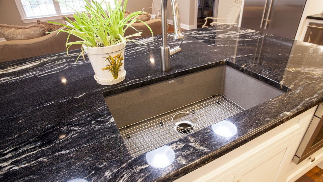 Cosmic Black & Black Galaxy Granite Kitchen Countertops | home is ...