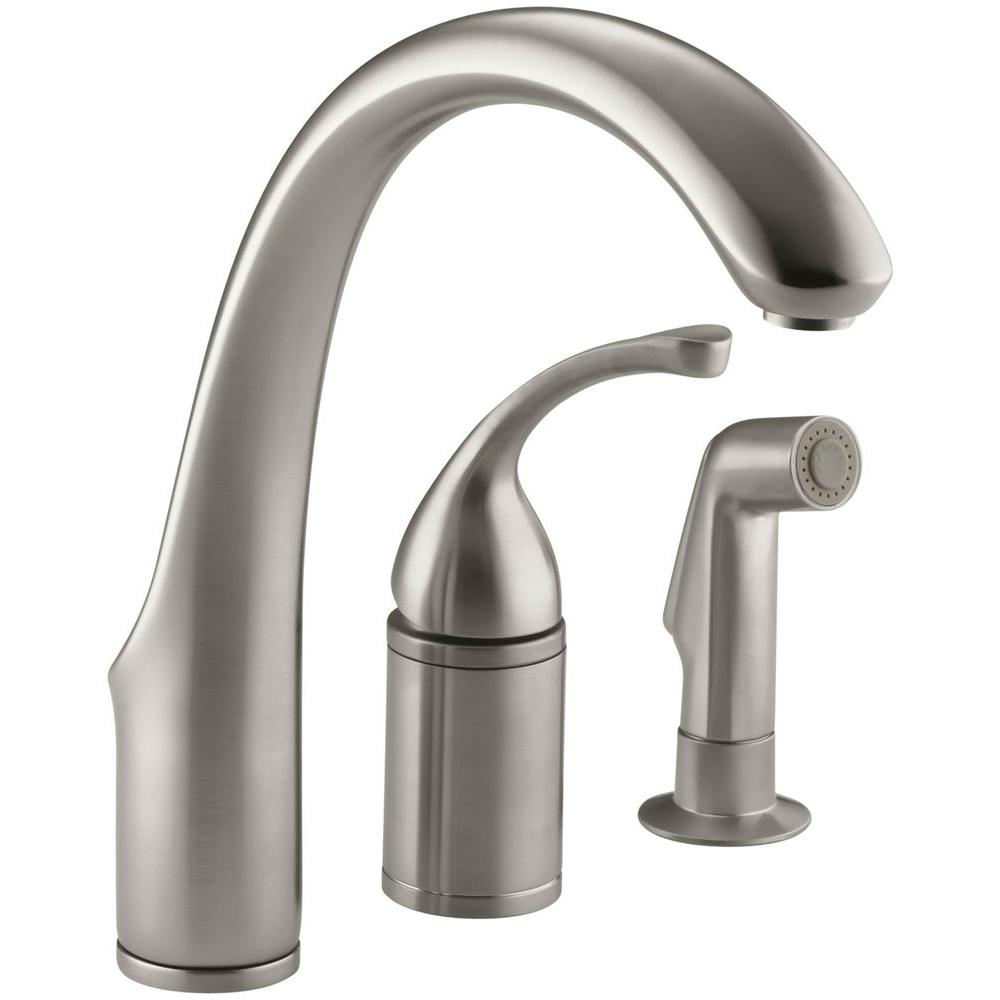 Kohler Forte Single Handle Standard Kitchen Faucet With Side Sprayer In Brushed Chrome K 10430 G The Home Depot Kitchen Faucet Kitchen Sink Faucets Kitchen Faucet Reviews