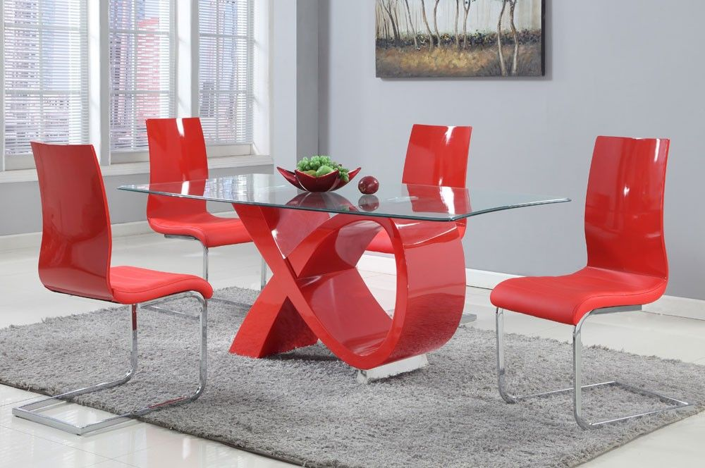 Ribbon Red Glossy Modern Dining Table, Red Dining Room Set