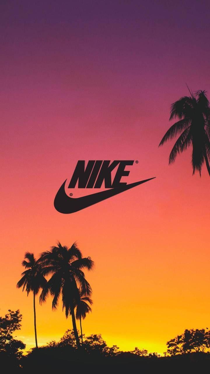 NIKE Tropical Sunset Wallpaper 4K Nike behang