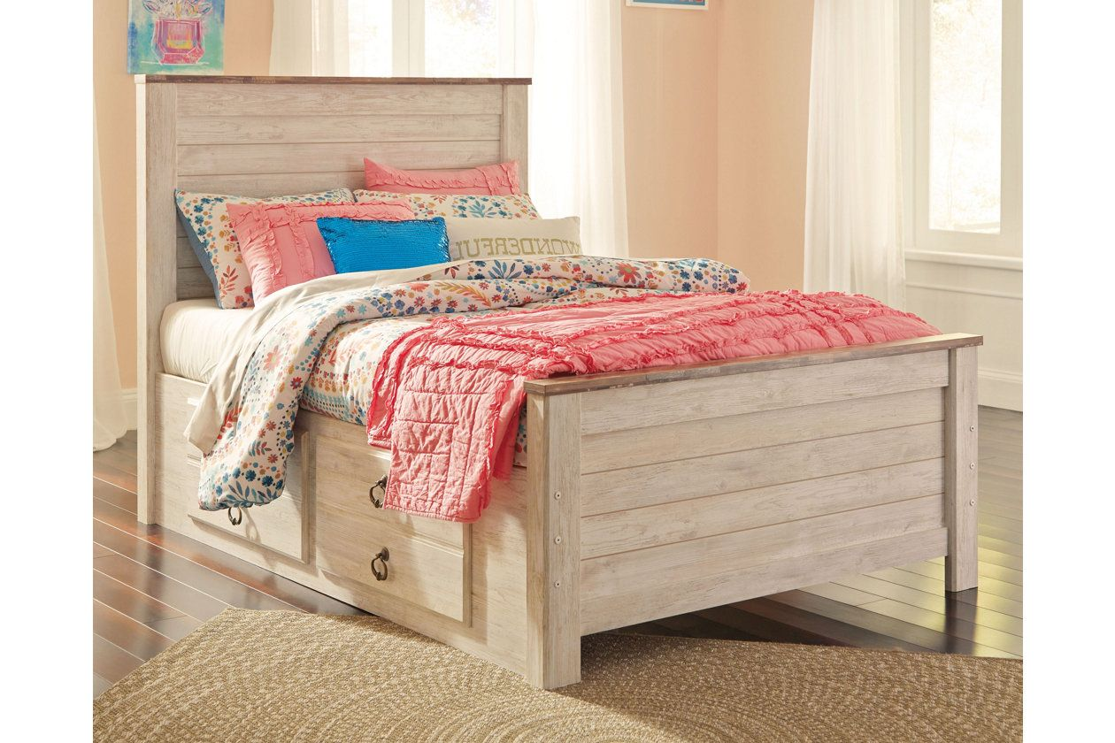 Willowton Twin Panel Bed with 2 Storage Drawers Panel