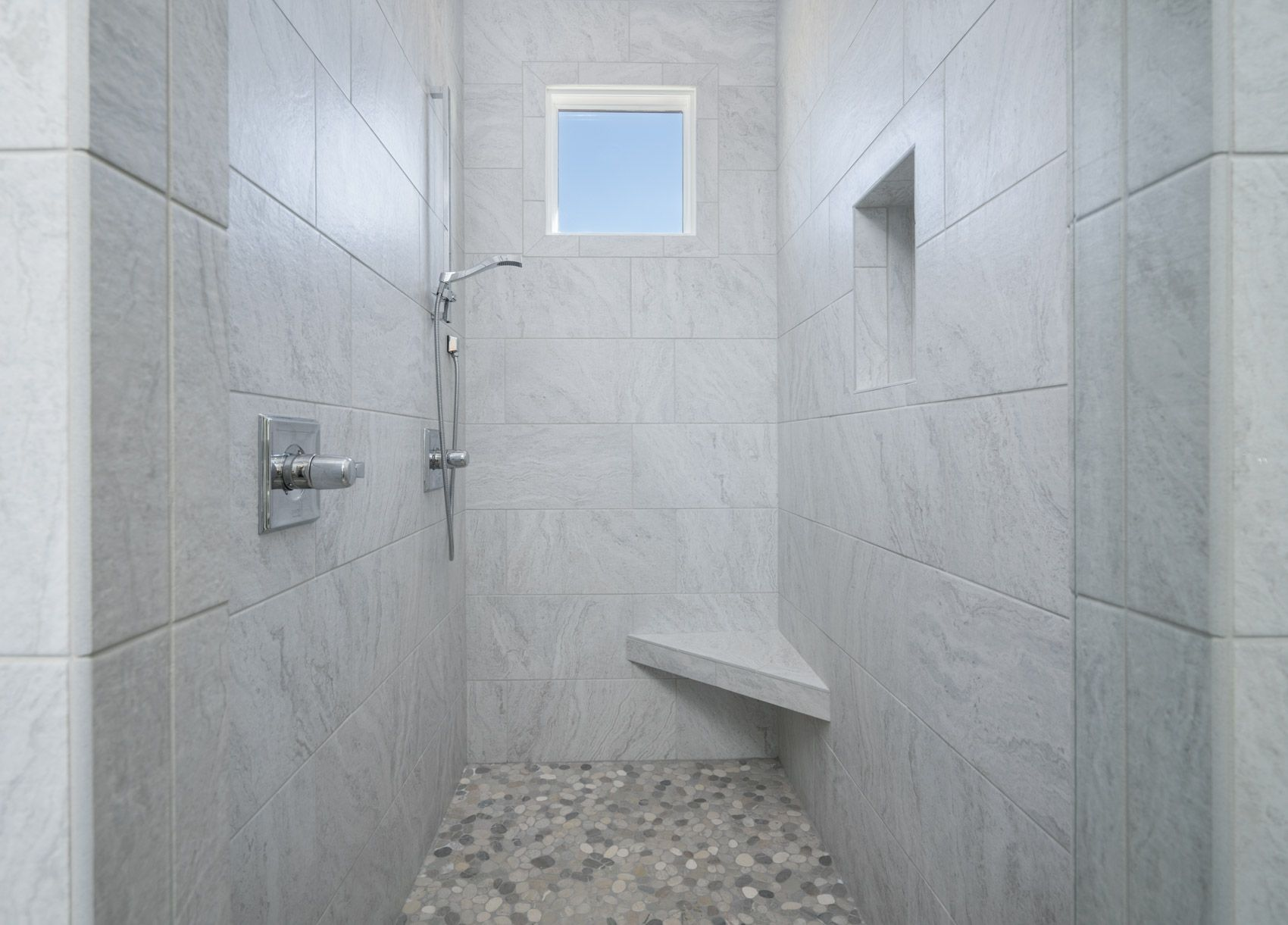 Love love love this gray walk in shower that features stone style love love love this gray walk in shower that features stone style tile floors a dailygadgetfo Gallery