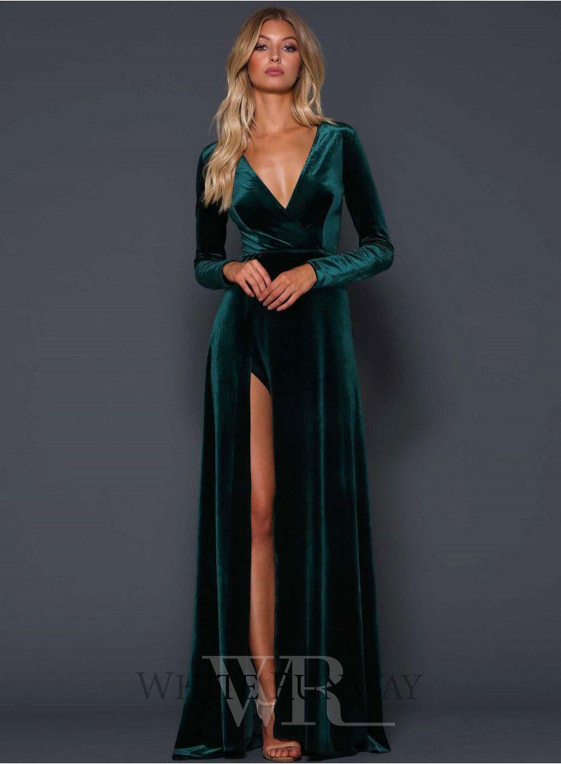 30 Dresses In 30 Days Black Tie Wedding Guest Emerald Green Long Sleeve Floor Length Wrap Dress Black Tie Wedding Guests Green Wedding Dresses Classy Dress [ 2190 x 1000 Pixel ]