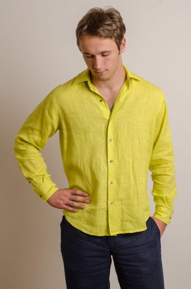 Yellow dress shirt men  Men different colors linen shirt beach wedding party special