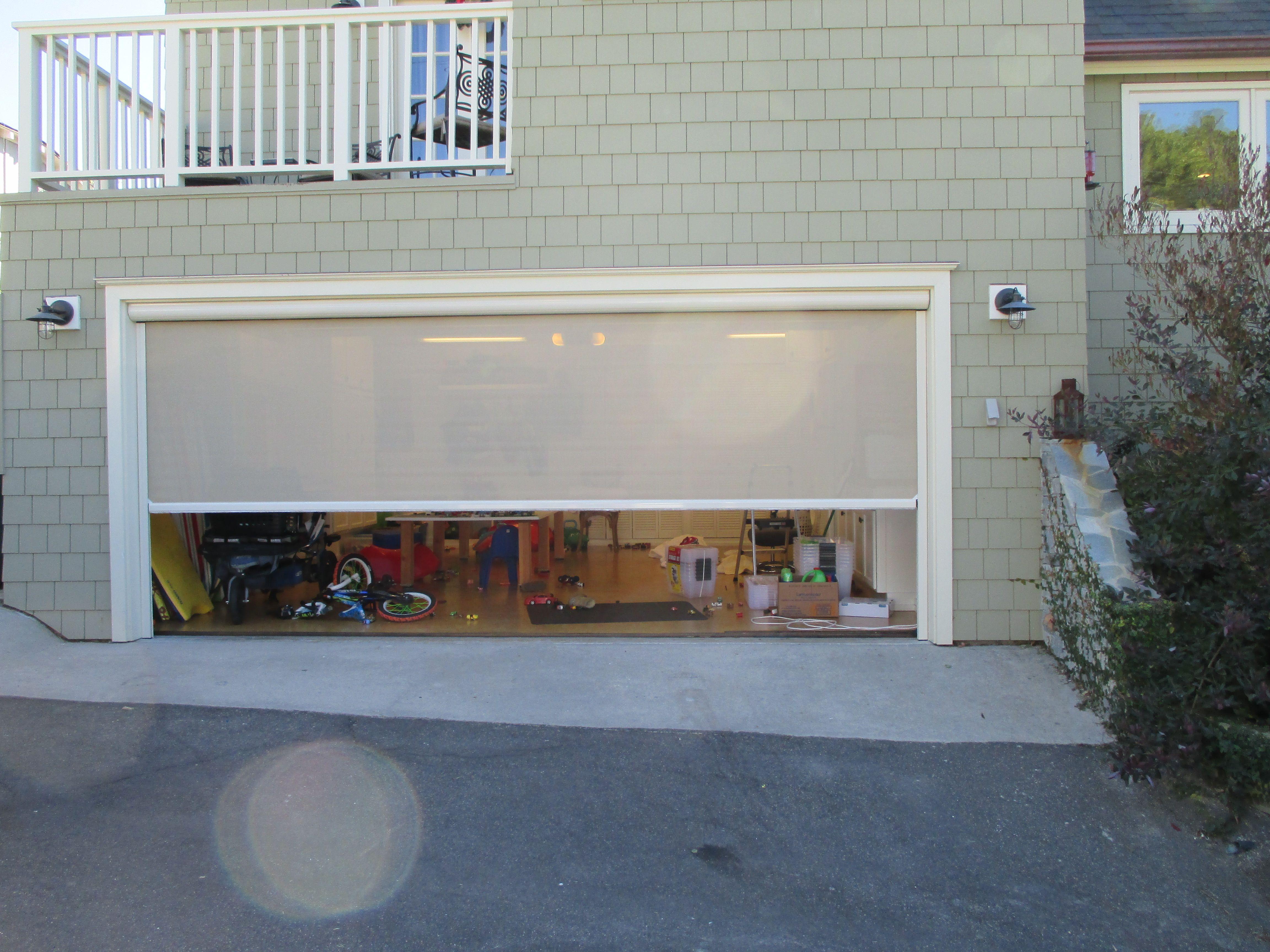 Residential Motorized Power Screens Garage Door Gallery Orange County Ca Garage Doors Garage Garage Screen Door