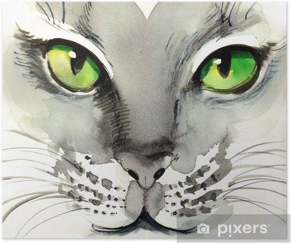 Poster Aquarell Katze • Pixers - Wir leben, um zu verändern