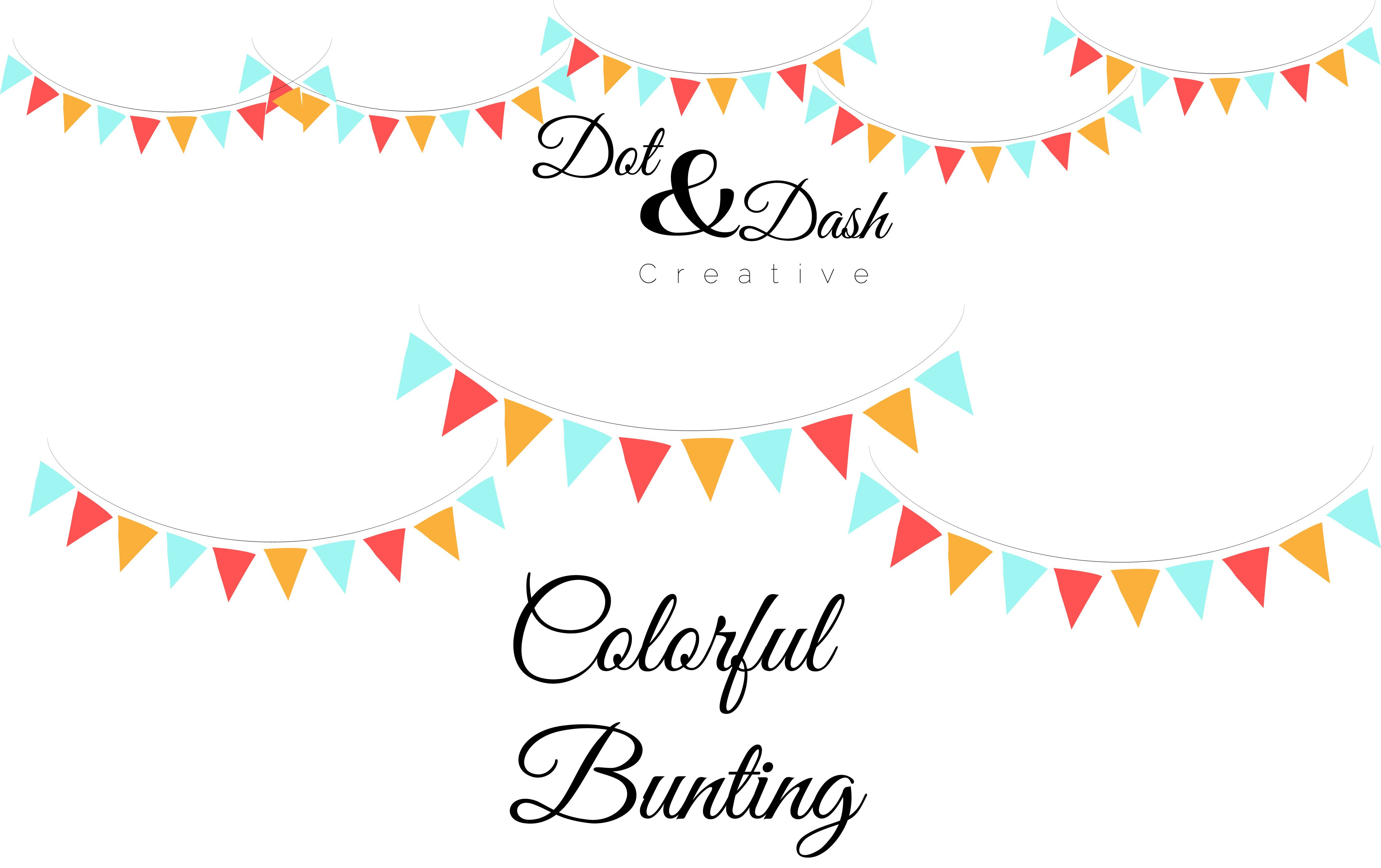 Colorful Bunting - Vector by Dot and Dash Creative on Creative Market