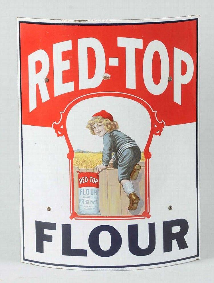 Vintage Red Top Flour curved porcelain sign.