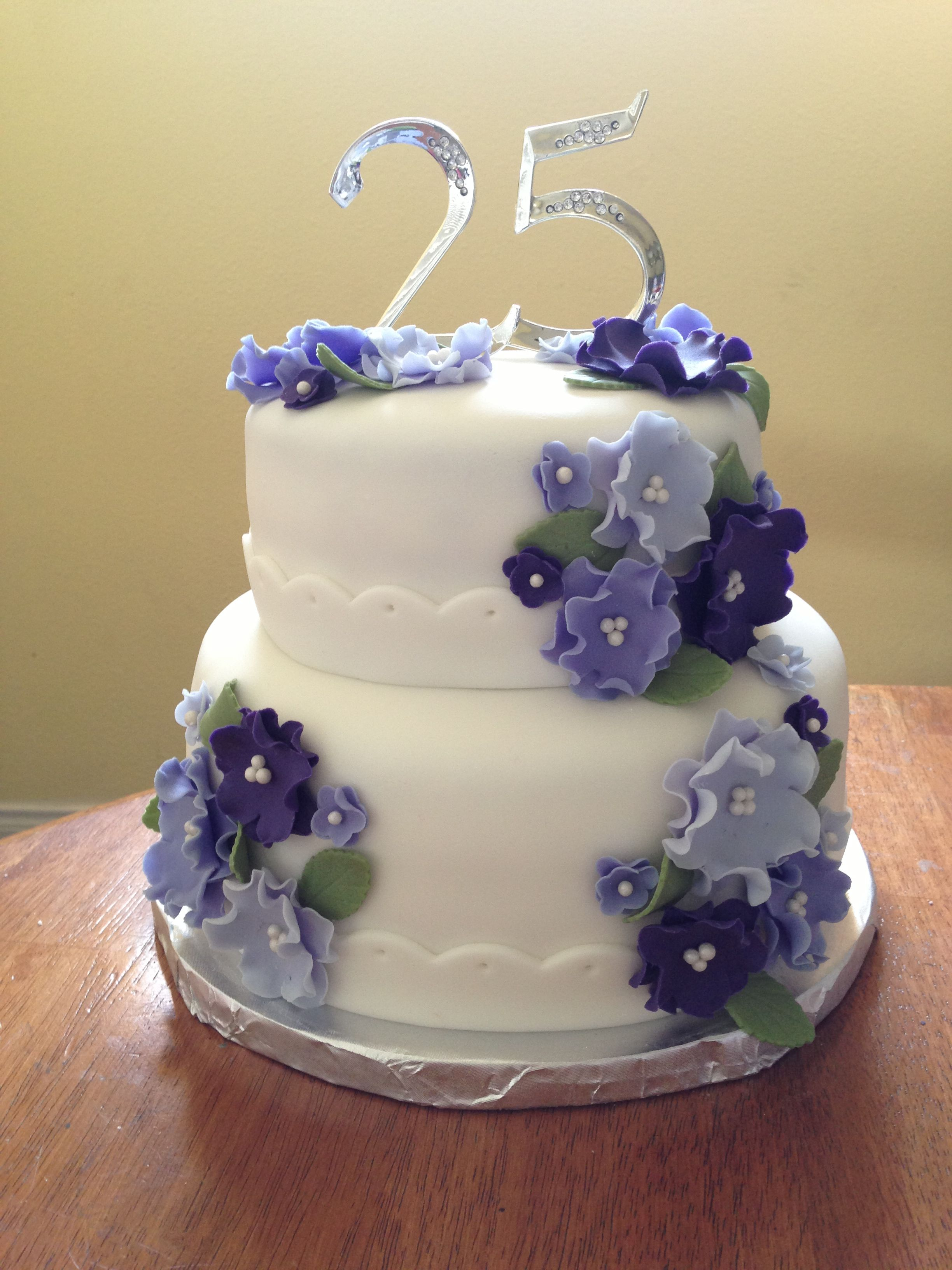 Th wedding anniversary cake with pastel colored flowers th
