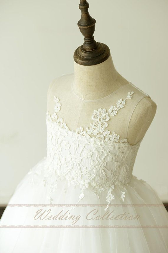 Sheer Lace Strapless Neckline Flower Girl by Weddingcollection