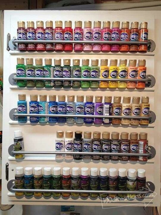 Organize Craft Paint On A Cabinet Door 100 Directions Craft