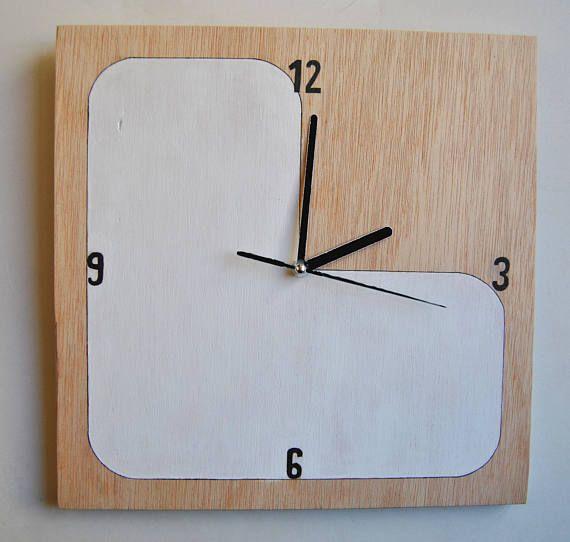 Hand painted Plywood wall clock Silent Pared de madera, Relojes - pared de madera