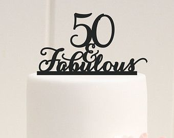 50 and Fabulous Crystal Cake Toppers Real Rhinestone by Yacanna