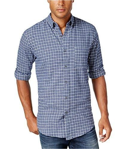 John Ashford Mens Herringbone Ls Button Up Shirt
