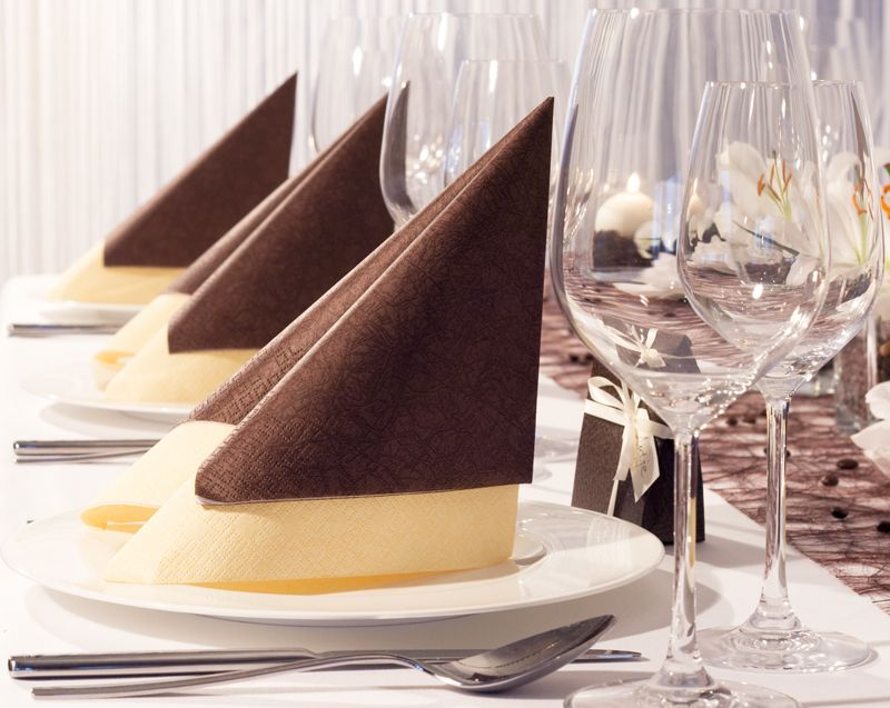 Tissue servietten in braun und champagner for Hochzeitsdeko braun