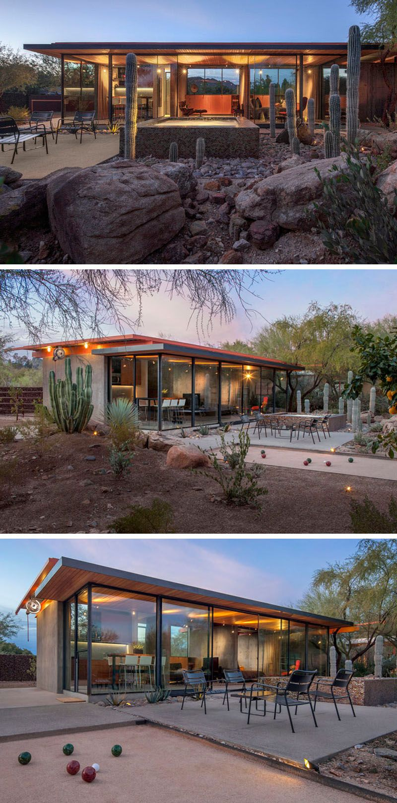 The construction zone have taken what was once a horse barn in phoenix arizona and transformed it into a modern guest house with plenty of glass