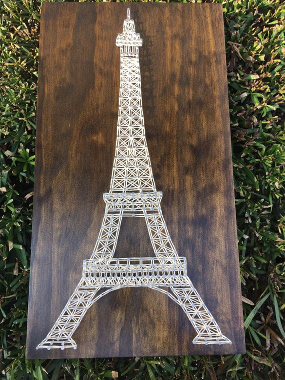 made to order paris eiffel tower string art wooden board. Black Bedroom Furniture Sets. Home Design Ideas