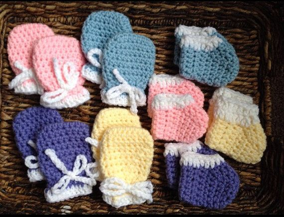 Newborn Baby Mitts And Booties Crochet Gift Set Tiffany Michele