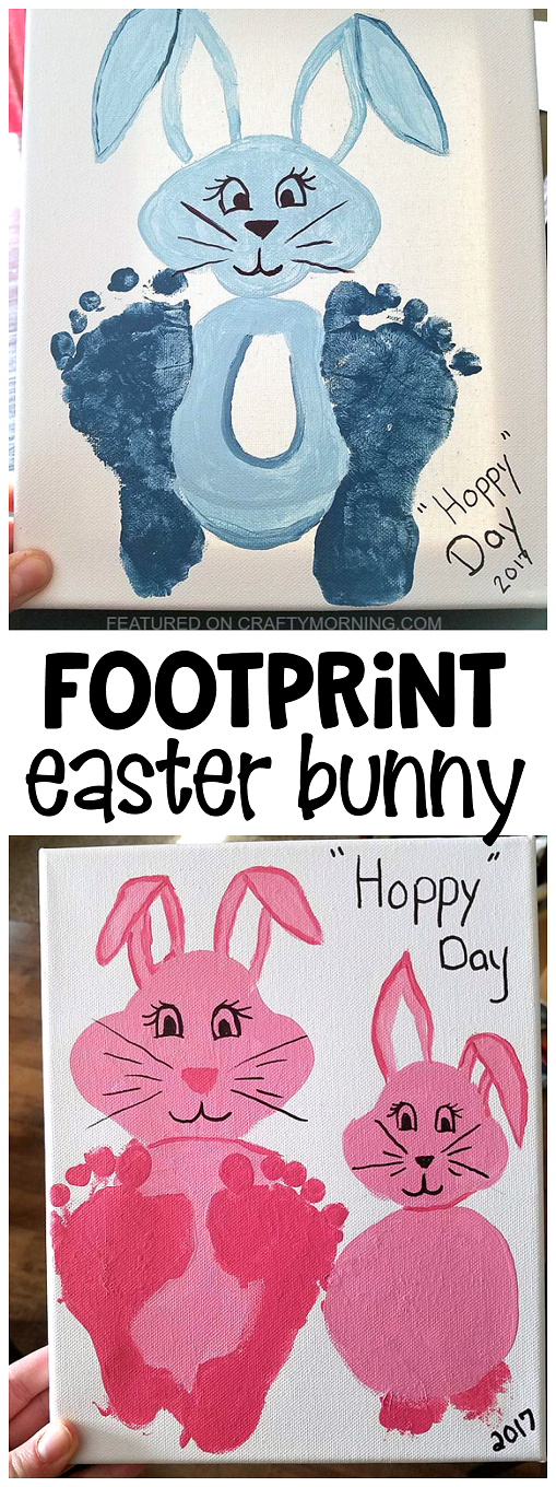 Footprint easter bunny craft for kids to make makes a cute canvas footprint easter bunny craft for kids to make makes a cute canvas keepsake gift for negle Images