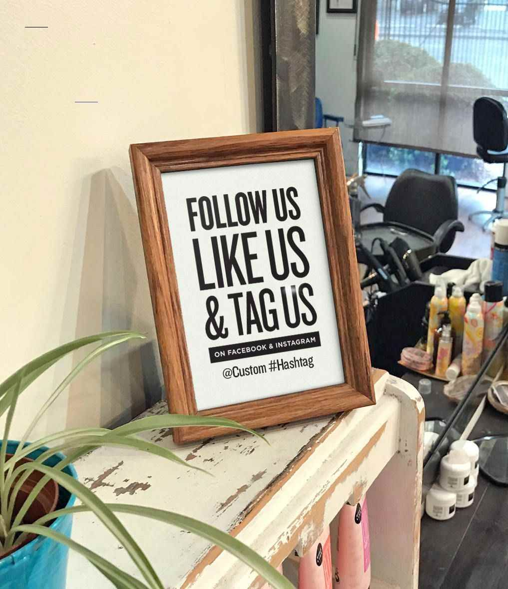 Follow Us Like Us Tag Us On Facebook And Instagram With Custom Text Social Media Call To Kapsalon Ideeën Schoonheidssalon Interieur Salon Interieur Ontwerp