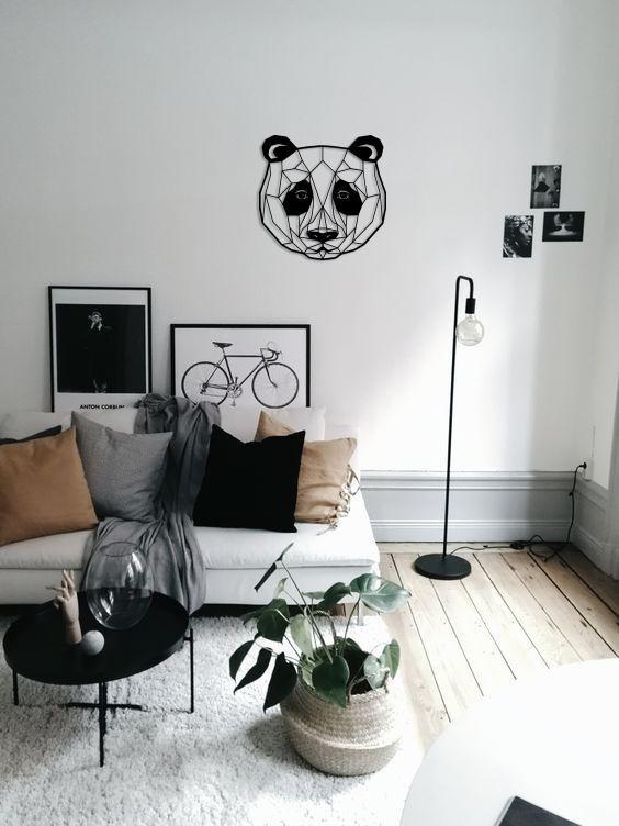 Metal Wall Art Geometric Panda Head Steel Home Decor Polygonal Living Room Grey Charcoal Carpet Living Room Word Wall Decor Bear decor for living room