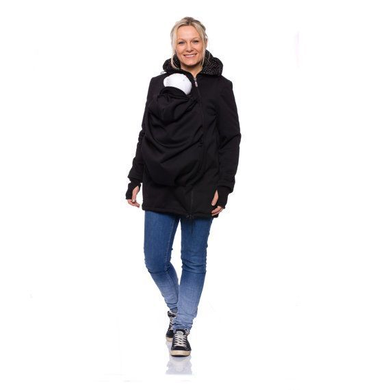 Viva la Mama | Baby wearing Softshell Jacket ARIEL (3in1- black, water-repellent, windproof). Outdoor jacket for pregnancy, maternity, baby wearing and everyday use. Mommy and baby are protected from rain, wind and cold. Perfect companion for outdoor and mountain moms!:)