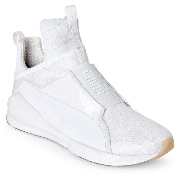White puma sneakers, White slip