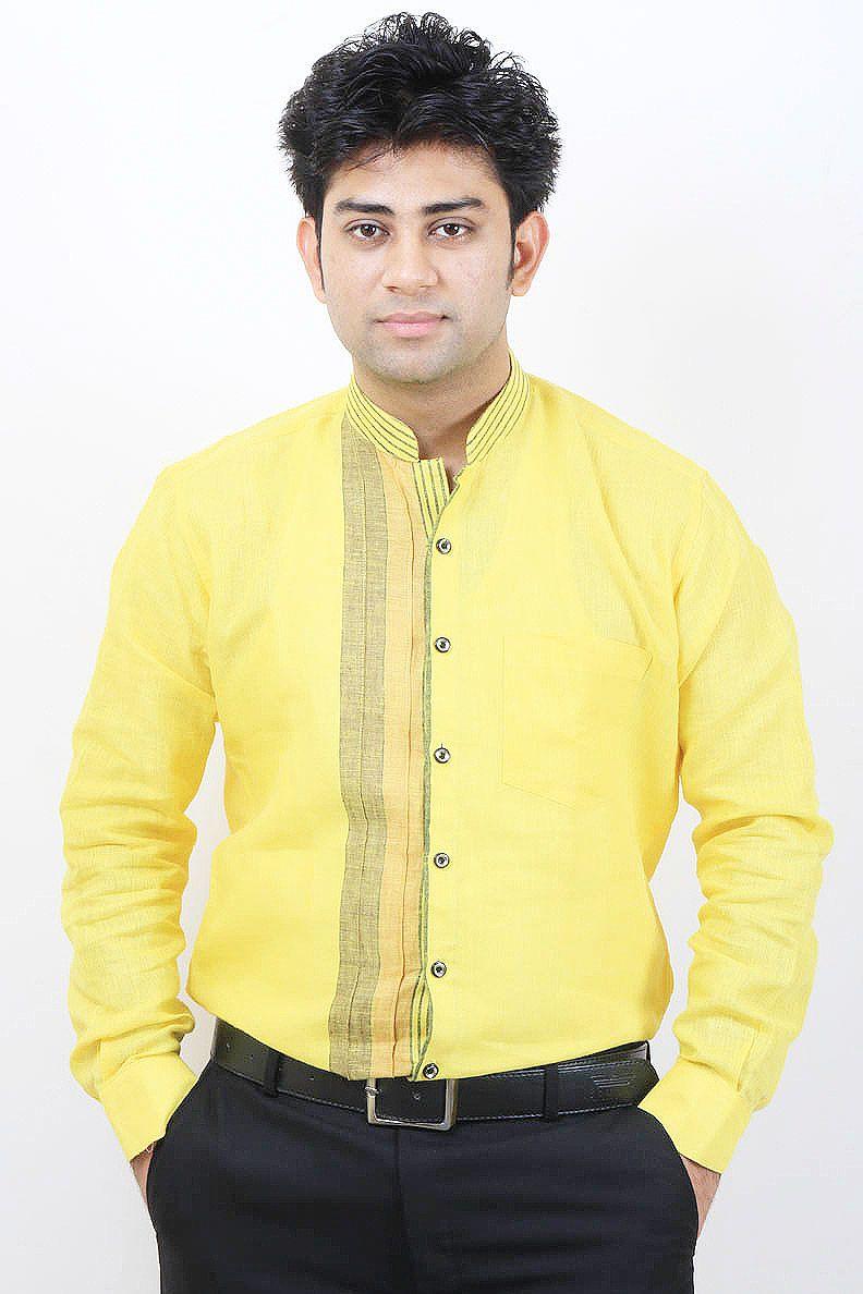 42c9393d907 Buy Lemon Color Party Wear Linen Shirt For Men Online in India ...