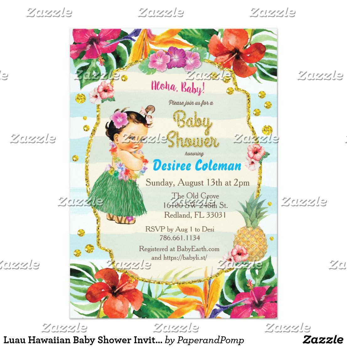 Luau Hawaiian Baby Shower Invitation   Hawaiian baby showers ...