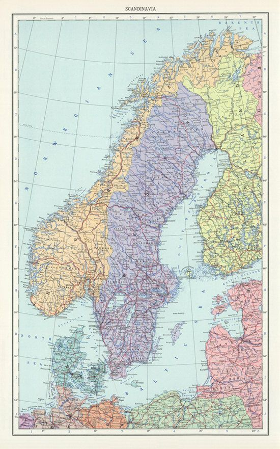 picture regarding Scandinavia Map Printable identified as Common Sweden, Norway and Denmark map electronic-Scandinavia