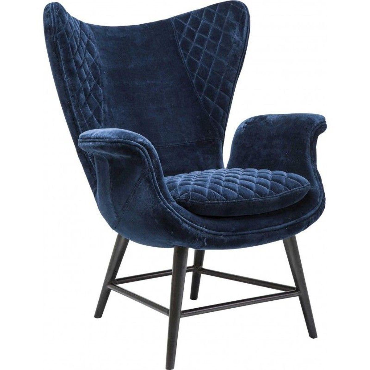 Fauteuil Tudor Velours Bleu Kare Design Taille : 1 Place