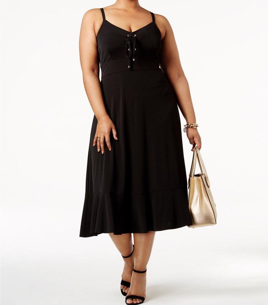 Nwt michael kors plus laceup sleeveless maxi black dress x