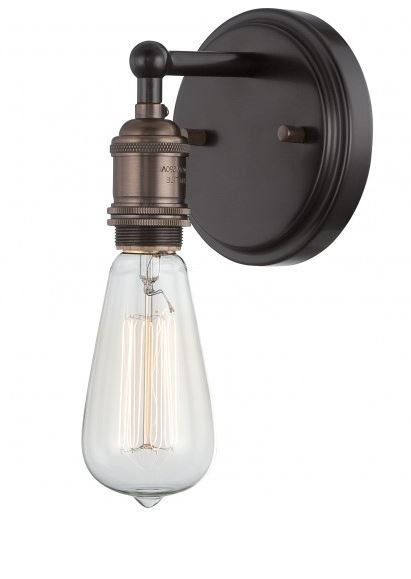 "View the Nuvo Lighting 60/5515 Vintage 4.875"" Width 1 Light Bathroom Sconce in Rustic Bronze at LightingDirect.com."