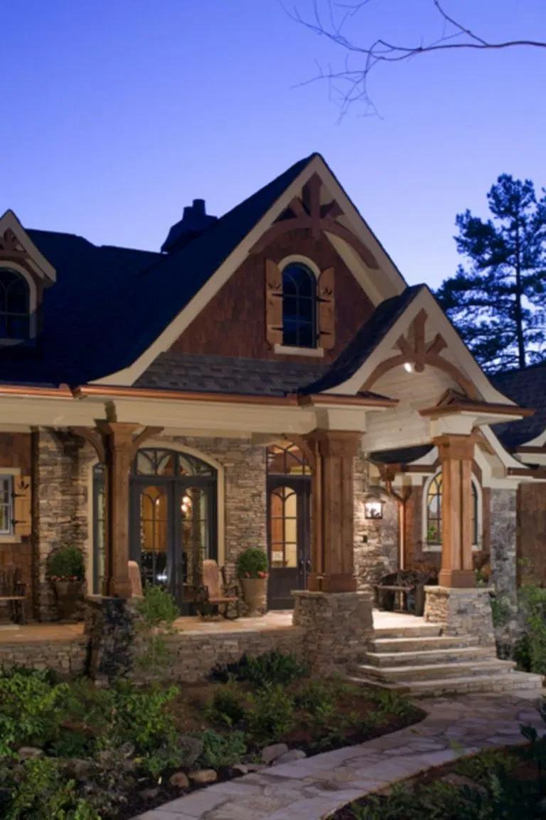 Stone House Design Ideas 1217 In 2020 Stone House Plans Stone Exterior Houses Craftsman Farmhouse