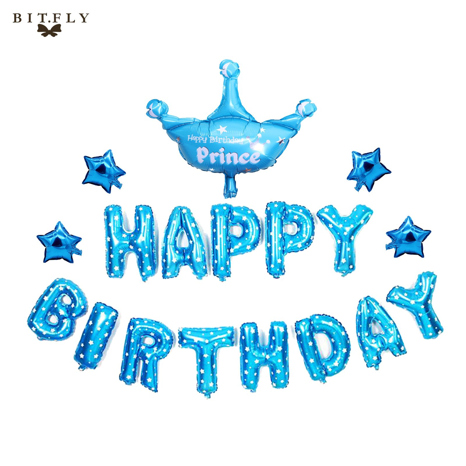 blue pink Happy Birthday balloon Letters foil balloons Crown