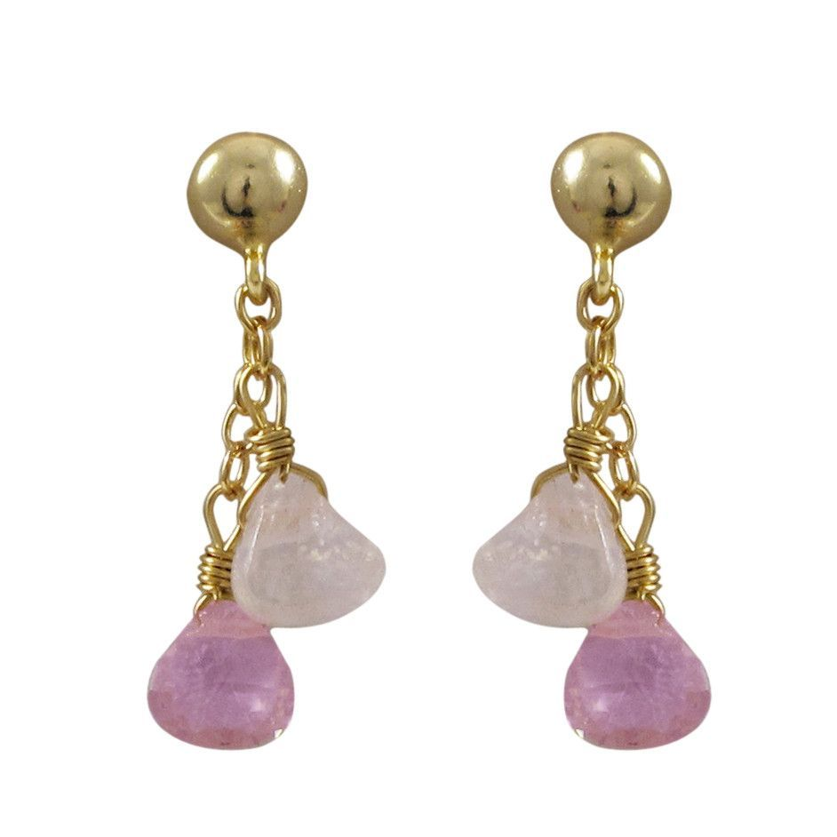 Gold Plated Sterling Silver Post Earrings With Pink And Light Pink Hanging 5x5mm Teardrop CZs, 0.87