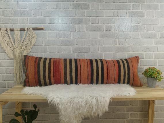 Throw pillow , pillow cover , kilim pillow , oushak pillow , 12 x 42 kilim pillow ,orange pillow , boho pillow , bolster pillow, 210