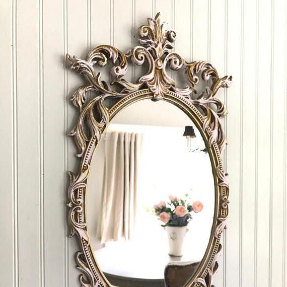 Shabby Chic Mirror Blush Pink Bathroom Vintage Baroque Painted Oval Decorative Ornate Wall