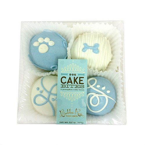 These peanut butter and apple Cake Bites Box by Bubba Rose Biscuit Company makes a cute and tasty gift. The gourmet dog treats in this gift box are a densely chewy texture (not crunchy) that dogs love