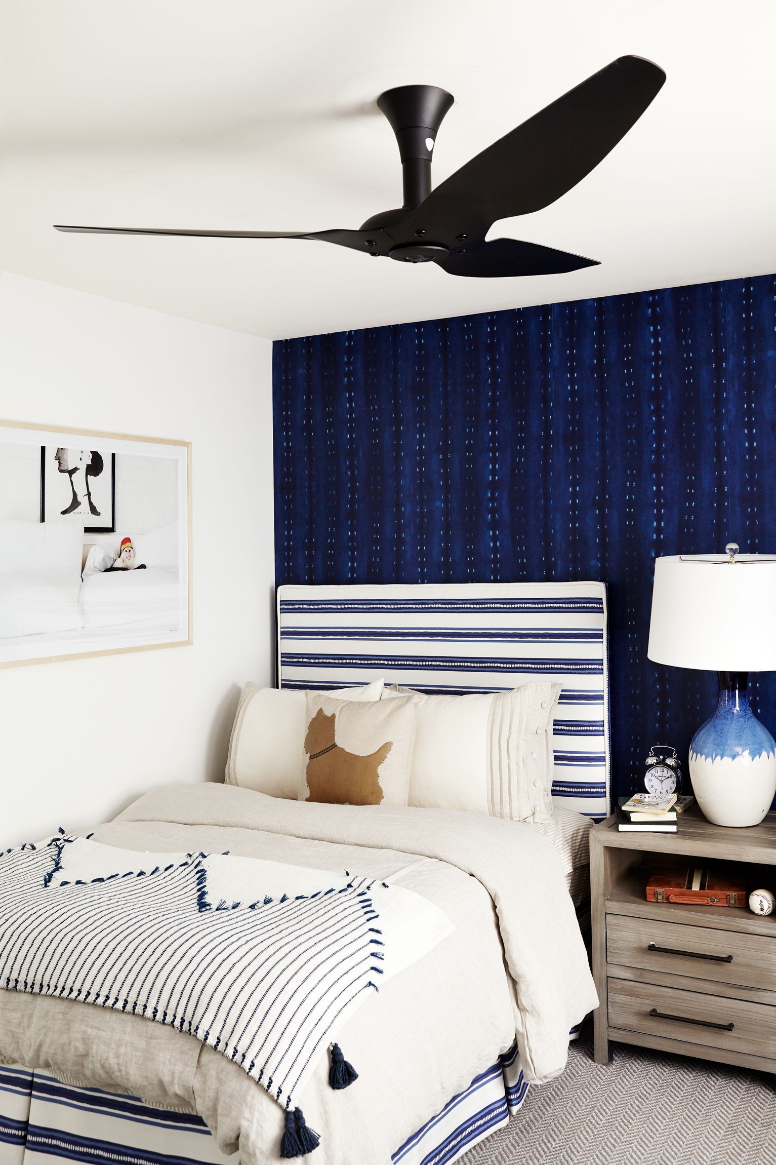 dark blue kids room accent wall indigo blue kids bedroom with beautiful dark wallpaper and striped upholstered bed